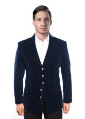 5 Button Velvet Single Breasted Notch Lapel Blazer Jacket Dark Navy Blue