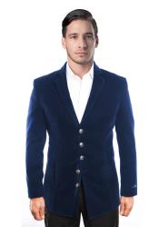 Notch Lapel 5 Button Velvet Single Breasted Blazer Jacket Navy Blue