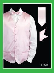 4 Piece Dress Tuxedo Wedding Vest Set (Bow Tie Neck Tie Hanky) - Satin Pink
