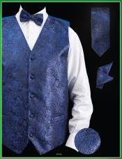 Royal Blue P A I S L E Y Design  - Four Piece Groomsmen Dress Tuxedo