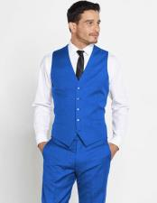 Mens Vest Matching Solid Regular Fit Dress Pants Set + Any Color Shirt & Tie Royal Blue