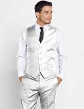 Mens Vest Silver Wool Matching Solid Dress Pants Set + Any Color Shirt & Tie Regular Fit