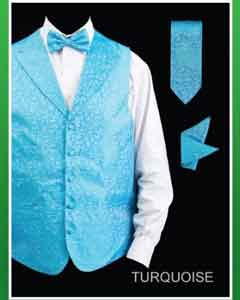 Turquoise ~ Light Blue Stage Party Four Piece Lapelled Groomsmen Dress