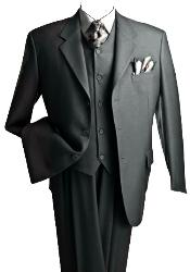 3 Piece Charcoal Gray three piece suit Vested Suit Pleated Pants
