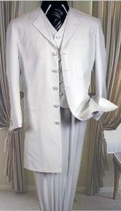 buttons White 3 Pc Suits For Men with vest 38 inch