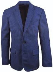 2 Button Kids Sizes Notch Lapel Dark Navy Linen Blazer