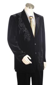 Floral Embroidered Velvet Black Plain Peak Lapel Zoot Suit