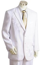 Floral Embroidered Peak Lapel White Zoot Suit