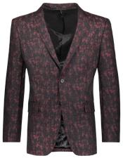 Mens Floral Pattern Slim Fit 2 Button Single Breasted Burgundy ~ Wine ~ Maroon Color Blazer