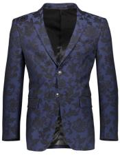 Mens Floral Pattern Slim Fit 2 Button Single Breasted Navy Blazer