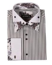 Mens High Collar Club Black Stripe Floral Shirts