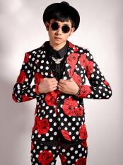Nardoni Brand Mens Flower/Polka Dot Pattern Black and Red Party Slim