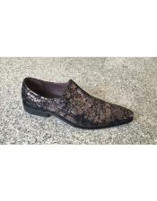 Foil Floral Pattern Gunmetal Man Made Lace Up Geniune Leather Footwear