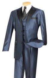 & Formal Blue Three Piece Fashion Suit Black Trim