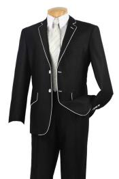 & Formal Mens Slim Fit Black White Trim Suits