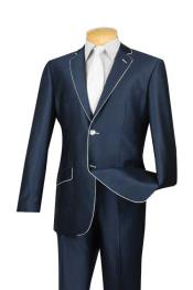 & Formal Mens Slim Fit Blue White Trim Suits