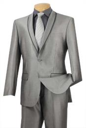 Grey poly/rayon Formal Slim Fit ~ Shawl Collar Trimmed No Pleated Pants