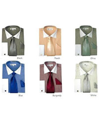 French Cuff Stylish Striped Formal Spread Collar Dress Shirt Set Style White Collar Two Toned Contrast Multi-Color