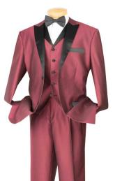& Formal Wine Three Piece Fashion Suit Black Trim