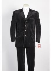 4 Button Single Breasted Suit Tone on Tone Strip Velvet Blazer & Pants Black