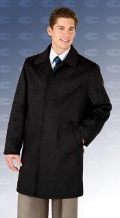 Quarters Length Mens Dress Coat 4 Button 3/4 Length Car Coat in Wool & Cashmere Black