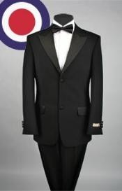 Button style peak lapel tuxedo Pleated Pants (Regular Fit Jacket) Luxurious Peak Lapel Super Fine Wool Tuxedo