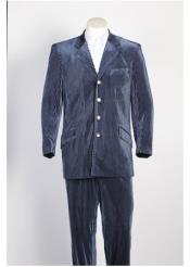4 Button Single Breasted Suit Tone on Tone Strip Velvet Blazer & Pants Blue