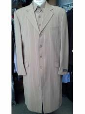 4 Button Khaki Striped Notch Lapel Vested Long Zoot