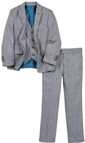 Single Breasted Navy 3 Pc Kids Sizes Linen Vested Suit And Pant