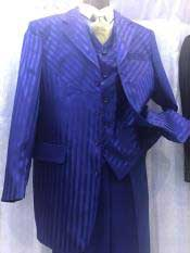 Moda Royal Blue Mens Pinstripe High Fashion Vested Dress Suits for