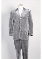 4 Button seersucker ~ sear sucker Suit Silver Tone on Tone Strip Velvet Blazer & Pants