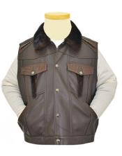 Mens 4 Buttons Brown