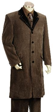 4 Button Vested Fashion Suit Brown 45 Long Jacket EXTRA LONG JACKET Maxi