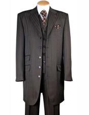Notch Lapel Three Piece 4 Buttons Brown Tonal Striped Vested Zoot
