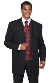 buttons Mens Black Red