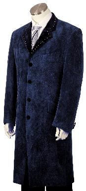 Mens Fashionable 4 Button Navy Long Zoot Suit