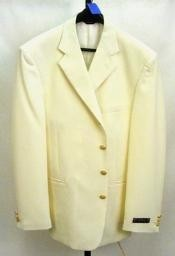3/4 Three Buttons Notch Lapel Off White~Ivory Mens Dress Cheap Unique
