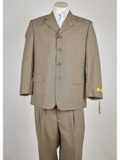 Tan Classic Fit 4 Button Single Breasted Notch Lapel Suit