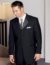 Mens 100% Wool Black Tuxedo Four Buttons Style  with Pleated Pants