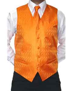Mens Four-Piece Orange Microfiber Vest Set Also available in Big and Tall Sizes