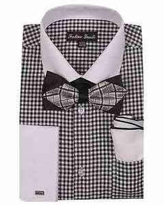 White Collar Two Toned Contrast Dress Shirt With Bow Tie And