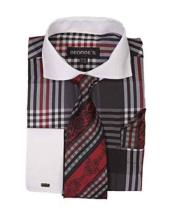 Long Sleeve White Collar Two Toned Contrast Plaid Window Pane Pattern