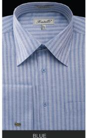 Fratello French Cuff Blue Dress Shirt - Herringbone Tweed Stripe Big and Tall Sizes
