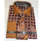 Brown Honey French Cuff With Collar Interlocking Ring Cotton Dress Shirt