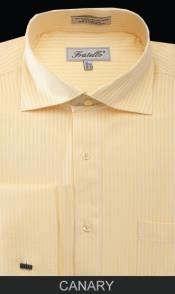 Spread Collar Mens French Cuff Dress Shirt - Classic Stripe Canary