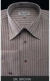 Fratello French Cuff Dark Brown Dress Shirt - Herringbone Tweed Stripe Big and Tall Sizes