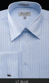 Fratello French Cuff Light Blue Dress Shirt - Herringbone Tweed Stripe