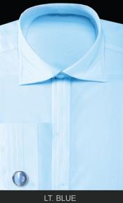 French Cuff with Cuff Links - Solid Pleated Collar Light Blue Mens