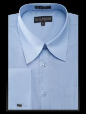 Blue Curved Pat Riley Collar Mens Dress Shirt
