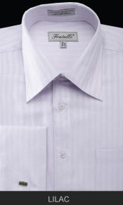 cotton/poly Mens French Cuff Best Cheap Priced Designer Sale - Herringbone Tweed Stripe Lilac Lavender Dress Shirt